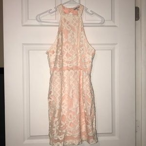 High Neck, Open Back Peach & Lace cocktail dress